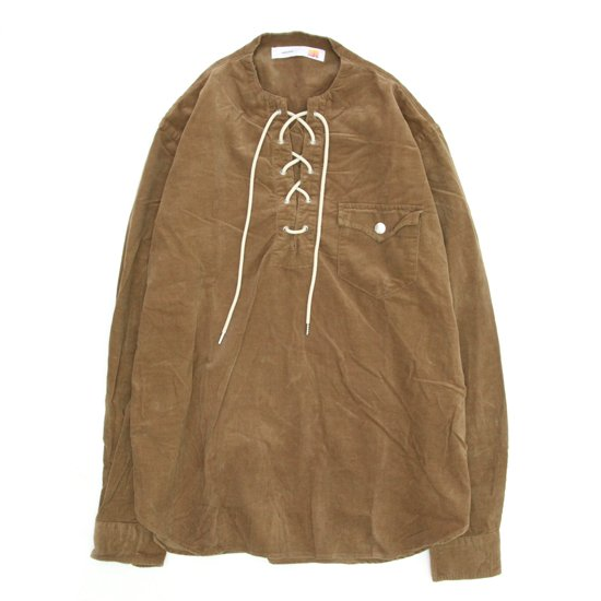 melple(メイプル) コーデュロイ レースアップシャツ (キャメル)(長袖シャツ)