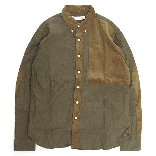melple(メイプル) 切り替えB/Dシャツ (カーキ)(ボタンダウンシャツ)