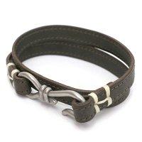 hobo(ホーボー) Brass Hook Bracelet (オリーブ)(レザーブレスレット)