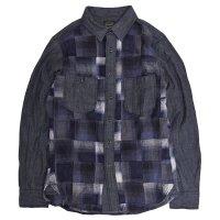GO HEMP(ゴーヘンプ) NEL CHECK BASIC ACTIVE SHIRTS (ブルー)(ネルシャツ)(パッチワーク)
