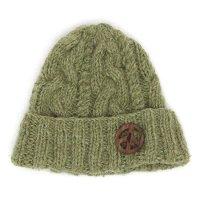 GO HEMP(ゴーヘンプ) PEACE WATCH CAP (カーキ)(ケーブル編みニット帽)
