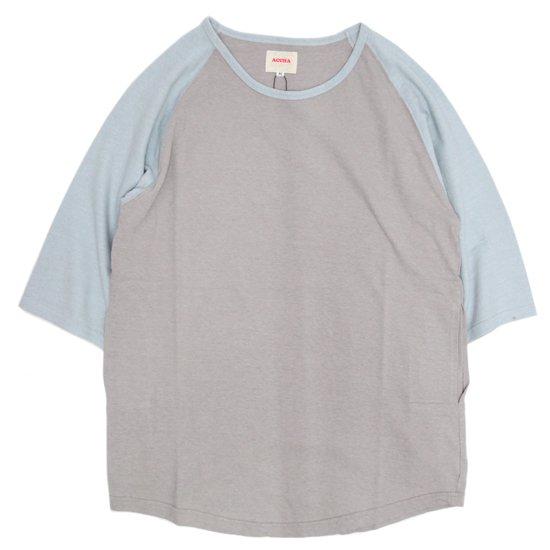 ACCHA(アチャ) KORTRIJK LINEN 5/10 SLEEVE RAGRAN TEE (グレイ/サックスブルー)(5分袖Tシャツ)