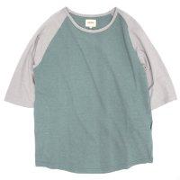 ACCHA(アチャ) KORTRIJK LINEN 5/10 SLEEVE RAGRAN TEE (グリーン/グレイ)(5分袖Tシャツ)