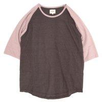 ACCHA(アチャ) KORTRIJK LINEN 5/10 SLEEVE RAGRAN TEE (ブラウン/スモークピンク)(5分袖Tシャツ)