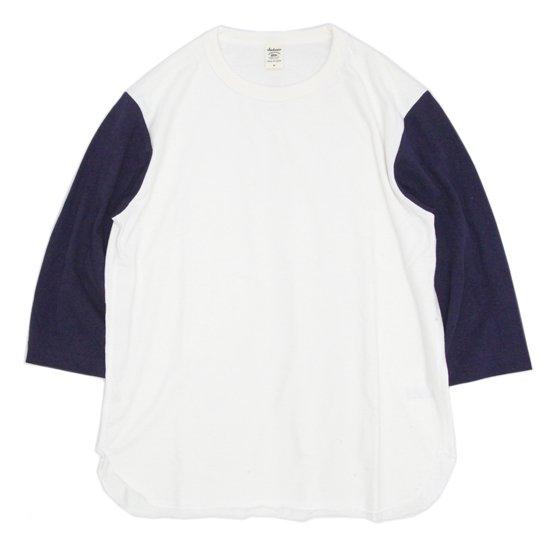 Jackman(ジャックマン) JM5723 Baseball T-shirt (オフホワイト/ネイビー)(七分袖Tシャツ)
