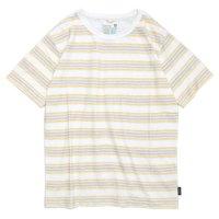 GO HEMP(ゴーヘンプ) BORDER PRINT S/SL TEE (イエロー)(ショートスリーブ TEE)(Tシャツ)