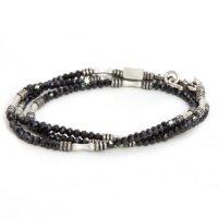 hobo(ホーボー) Stone Bracelet with Brass Coated Beads (ブラック)(ブレスレット)(ブラックスピネル)
