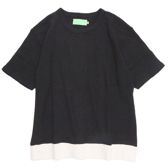 VOO(ヴォー) THERMAL STRIPE TEE (ブラック)(サーマルストライプTEE)(サーマル生地)(Tシャツ)