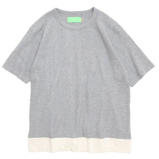 VOO(ヴォー) THERMAL STRIPE TEE (グレイ)(サーマルストライプTEE)(サーマル生地)(Tシャツ)