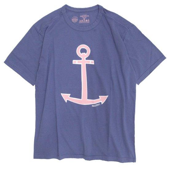 rulezpeeps(ルールズピープス) ANCHOR TEE (ネイビー)(オーガニックコットン)(Tシャツ)(プリントTEE)