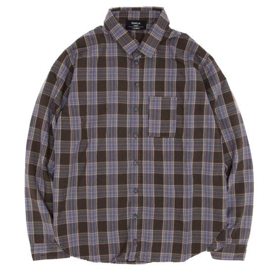 remilla(レミーラ) ヒトエラウンドシャツ (ブラウン×パープル)(チェックシャツ)(変形シャツ)