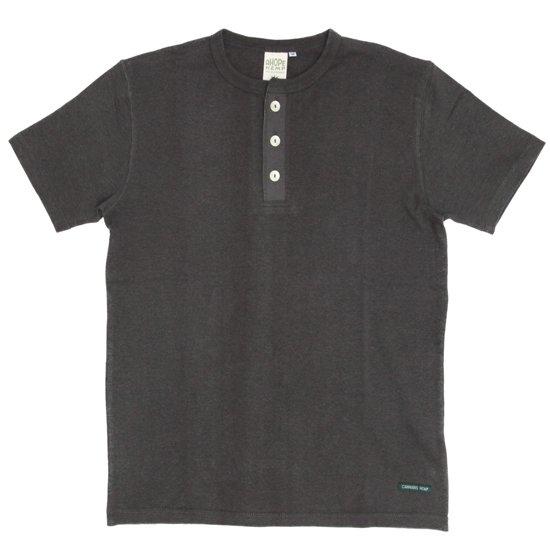 A HOPE HEMP(アホープヘンプ) Henley Neck S/S Tee (オールドブラッキー)(Tシャツ)(ヘンリーネック)