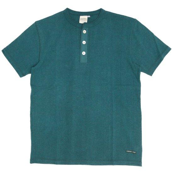 A HOPE HEMP(アホープヘンプ) Henley Neck S/S Tee (プラントブルー)(Tシャツ)(ヘンリーネック)