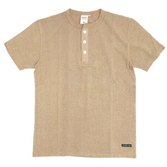 A HOPE HEMP(アホープヘンプ) Henley Neck S/S Tee (トープ)(Tシャツ)(ヘンリーネック)