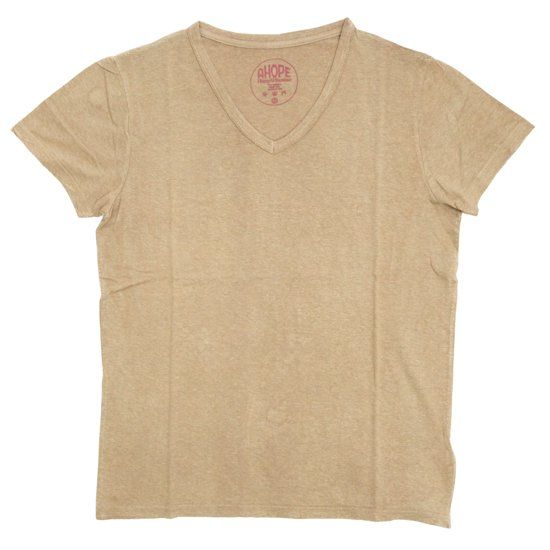 A HOPE HEMP(アホープヘンプ) V Neck Bamboo S/S Tee (トープ)(バンブー生地)(Tシャツ)(無地TEE)