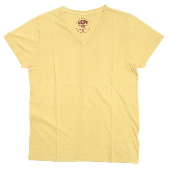 A HOPE HEMP(アホープヘンプ) V Neck Bamboo S/S Tee (ハーベスト)(バンブー生地)(Tシャツ)(無地TEE)