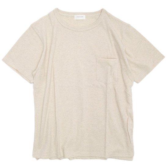 SPINNER BAIT(スピナーベイト) ガラガラ天竺 S/S ポケットTEE (生成り)(Tシャツ)(ガラガラ紡)
