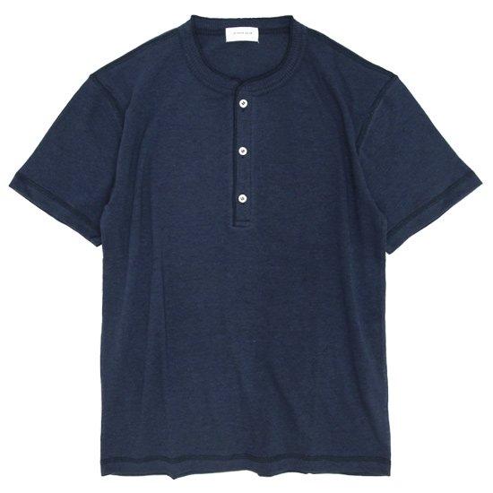 SPINNER BAIT(スピナーベイト) ガラガラ天竺 ヘンリーネックTEE (ネイビー)(Tシャツ)(ガラガラ紡)