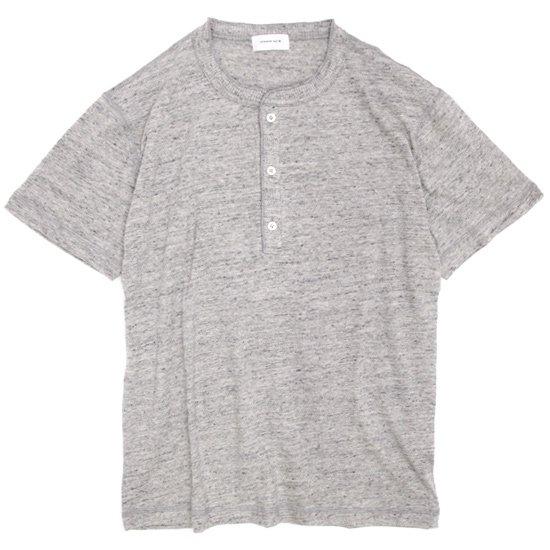 SPINNER BAIT(スピナーベイト) ガラガラ天竺 ヘンリーネックTEE (トップグレイ)(Tシャツ)(ガラガラ紡)