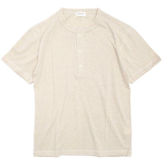SPINNER BAIT(スピナーベイト) ガラガラ天竺 ヘンリーネックTEE (生成り)(Tシャツ)(ガラガラ紡)