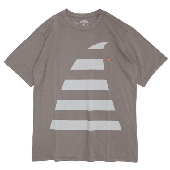 rulezpeeps(ルールズピープス) BIG WAVE TEE (チャコールグレイ)(オーガニックコットン)(Tシャツ)(プリントTEE)