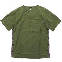 GO HEMP(ゴーヘンプ) CHAMBRAY TRAIVAL SHIRTS (オリーブ)(ノーカラーシャツ)