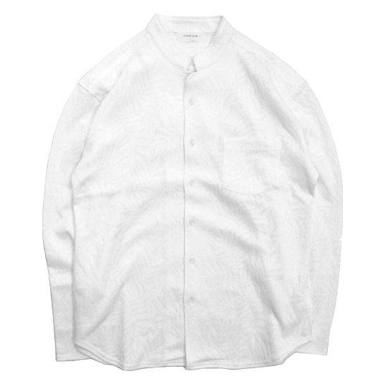 SPINNER BAIT(スピナーベイト) トロピカルリーフ スタンドカラーシャツ (ホワイト)(長袖シャツ)