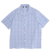 NECESSARY or UNNECESSARY GARAGE SHIRT CHECK (ブルー)(ネセサリー オア アンネセサリー)(半袖シャツ)