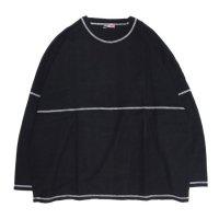 ionoi(イオノイ) STITCH BEKA L/S TEE (ブラック)(Tシャツ)(ステッチTEE)(ベカTEE)