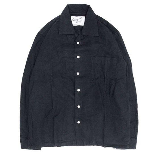 SPINNER BAIT スピナーベイト 昭和シャツ ヘリンボーン起毛 (ブラック)(長袖シャツ オープンカラーシャツ)