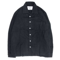 SPINNER BAIT スピナーベイト|昭和シャツ ヘリンボーン起毛 (ブラック)(長袖シャツ オープンカラーシャツ)