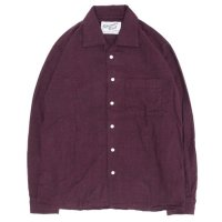 SPINNER BAIT スピナーベイト|昭和シャツ ヘリンボーン起毛 (バーガンディ)(長袖シャツ オープンカラーシャツ)