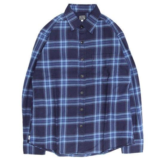 GO WEST ゴーウエスト|INDIGO CHECK BASIC RETRO SHIRTS (ブルー)(ベーシックレトロシャツ)