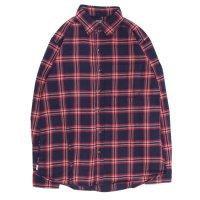GO WEST ゴーウエスト|INDIGO CHECK BASIC RETRO SHIRTS (レッド)(ベーシックレトロシャツ)