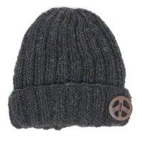 GO HEMP ゴーヘンプ|RIB & PEACE WATCH CAP (ブラック)(リブ編み ニット帽)