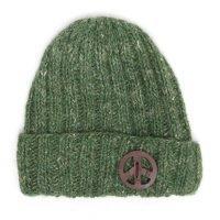 GO HEMP ゴーヘンプ|RIB & PEACE WATCH CAP (オリーブ)(リブ編み ニット帽)