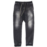 GO HEMP ゴーヘンプ|SLIM RIB PANTS BLACK DENIM (ユーズドウォッシュ)(ブラックデニム スリムリブパンツ)