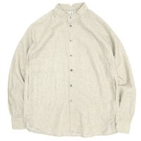 HiHiHi ひひひ|ゴデシャツ (キナリ ストライプ)(スタンドカラーシャツ)