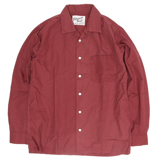 SPINNER BAIT スピナーベイト|ウェザー オープンカラーシャツ (レッド)(長袖シャツ オープンカラーシャツ)