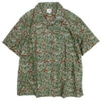 GO HEMP ゴーヘンプ|AFRICAN BATIK OPEN MIND SHIRTS (ブラウン)(オープンカラーシャツ)