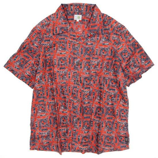 GO HEMP ゴーヘンプ|AFRICAN BATIK OPEN MIND SHIRTS (レッド)(オープンカラーシャツ)