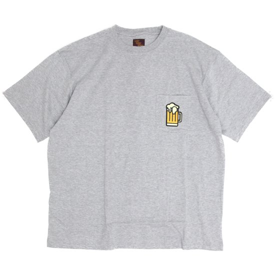Phatee ファティ|BEER POCKET TEE (グレイ)(ビールTEE ワッペン)