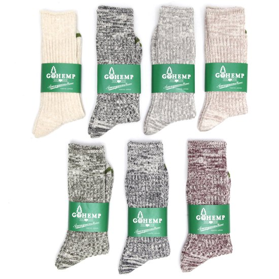 GO HEMP ゴーヘンプ|ORGANIC COTTON × HEMP PILE CREW SOCKS (クルーソックス)