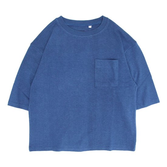A HOPE HEMP アホープヘンプ|レディース 1/2 Pocket Wide Tee (インディゴ)(ワイドTシャツ)