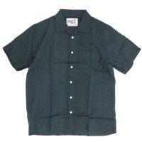 SPINNER BAIT スピナーベイト|半袖 昭和シャツ リネンシャンブレー (ディープグリーン)(半袖シャツ オープンカラーシャツ)