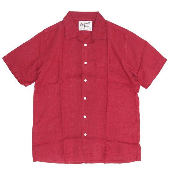 SPINNER BAIT スピナーベイト|半袖 昭和シャツ リネンシャンブレー (ディープレッド)(半袖シャツ オープンカラーシャツ)