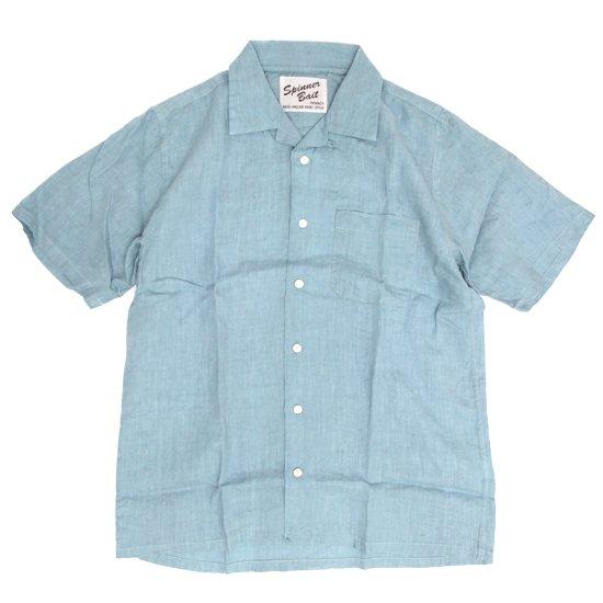 SPINNER BAIT スピナーベイト|半袖 昭和シャツ リネンシャンブレー (ブリーチ)(半袖シャツ オープンカラーシャツ)