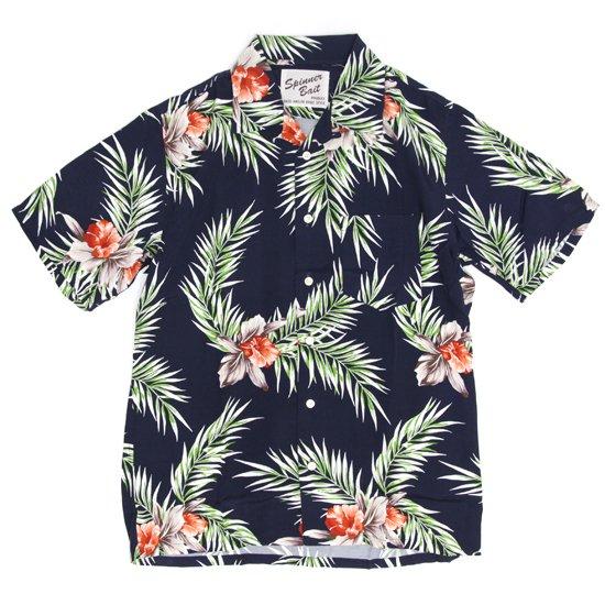 SPINNER BAIT スピナーベイト|半袖 昭和シャツ レーヨンプリント (ネイビー)(半袖シャツ オープンカラーシャツ)