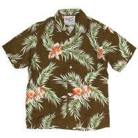 SPINNER BAIT スピナーベイト|半袖 昭和シャツ レーヨンプリント (ブラウン)(半袖シャツ オープンカラーシャツ)
