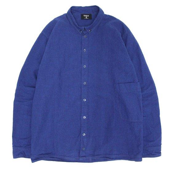 remilla レミーラ|千鳥デクトシャツ (ブルー)(ボタンダウン 長袖シャツ)